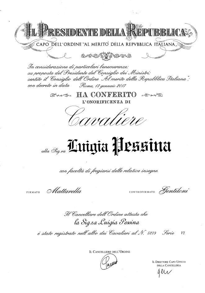 Luigia Pessina Cavaliere del Lavoro